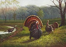 5 x 7 Oil on Board ~Turkeys in Forest~ Signed
