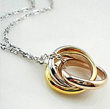 Splendid Tricolor Linked Trinity Ring Necklace, 18