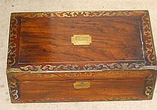 Victorian rosewood brass inlaid writing slope