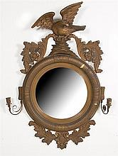 Regency style giltwood convex girandole mirror