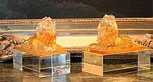 Lalique Inspired Gold Crystal Lions