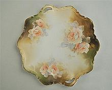 R.S. Prussia Handled Plate, rose motif