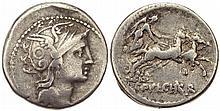 Roman Republic CClaudius Pulcher 110-109 BC Silver
