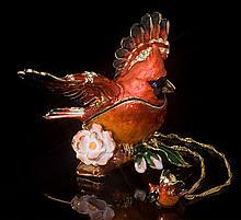 Cardinal Jeweled Jewelry Box & Necklace