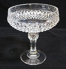 LARGE GLASS CANDY DISH PEDESTAL DIAMOND-CUT DESIGN