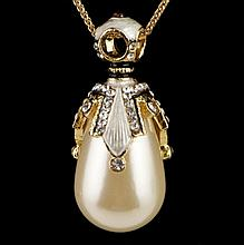 Faux Pearl Faberge Inspired Pendant