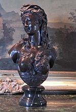 Dazzling Bronze Bust Sculpture Renaissance Woman