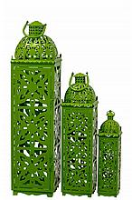 Set of 3 Metal Lanterns, Green.
