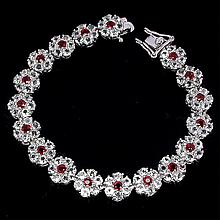 Flawless 81ct Red Sapphire & White Topaz Bracelet