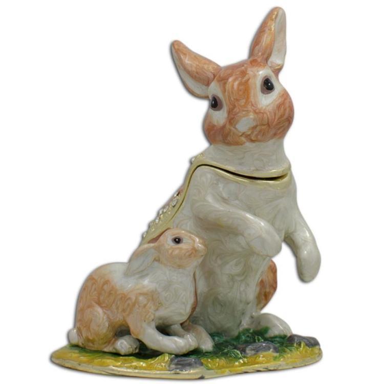 Furniture Bluffton Sc Lot 111: Springtime Rabbits, Bunnies Jewel Trinket Box