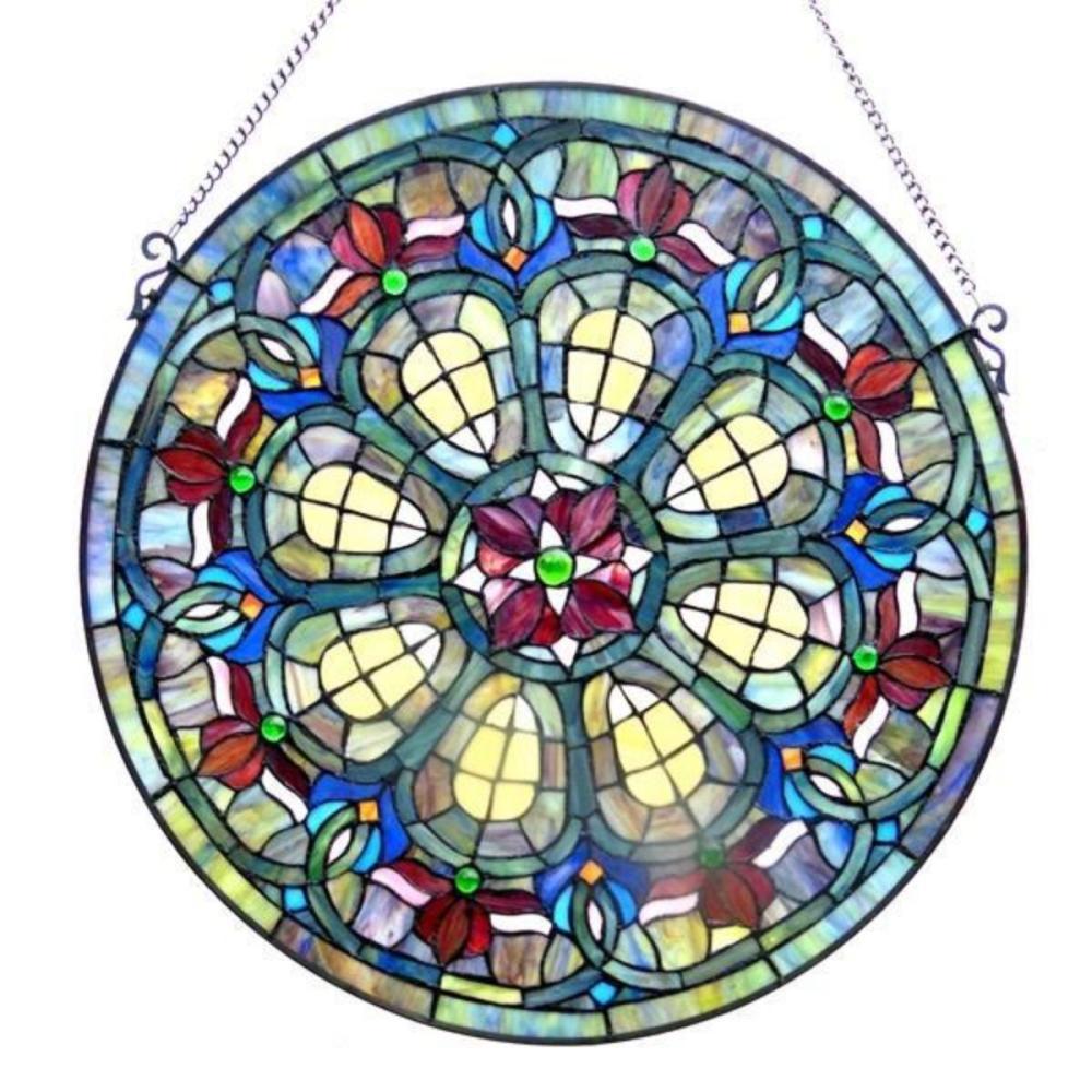 Art Glass Round Hanging Window Panel