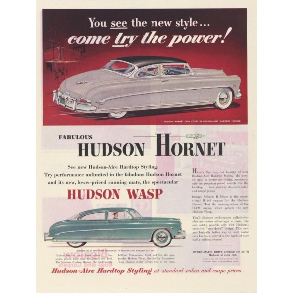 1952 Hudson Hornet & Wasp Magazine Advertisement