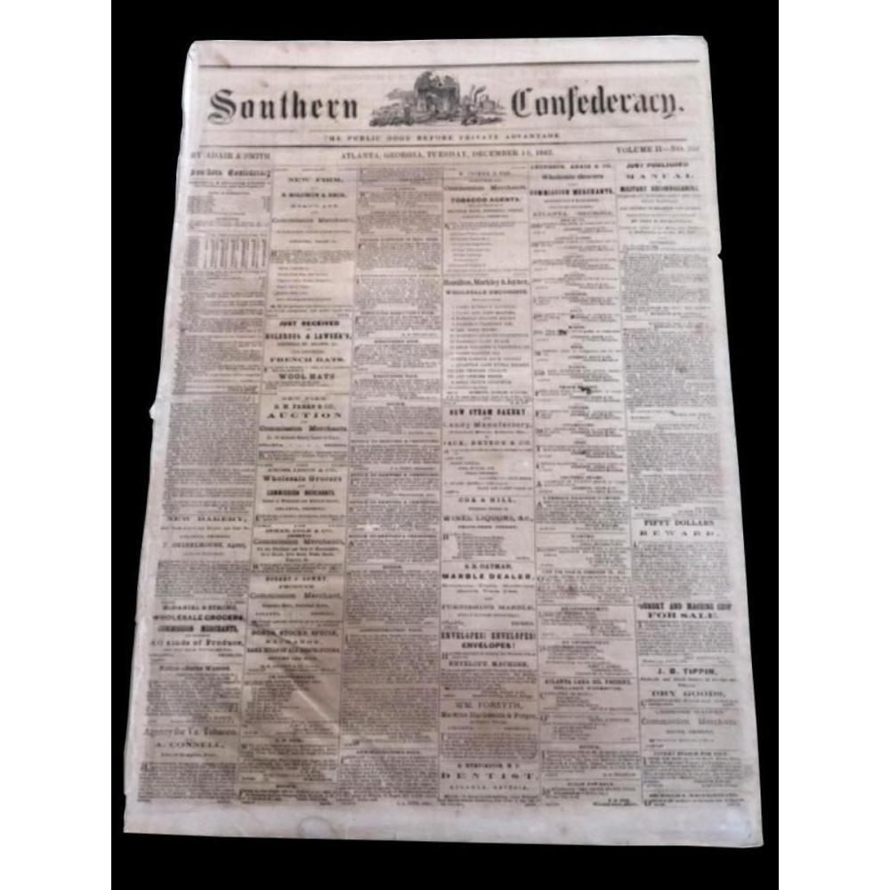 RARE! 1862 Southern Confederacy, Atlanta Georgia Newspaper
