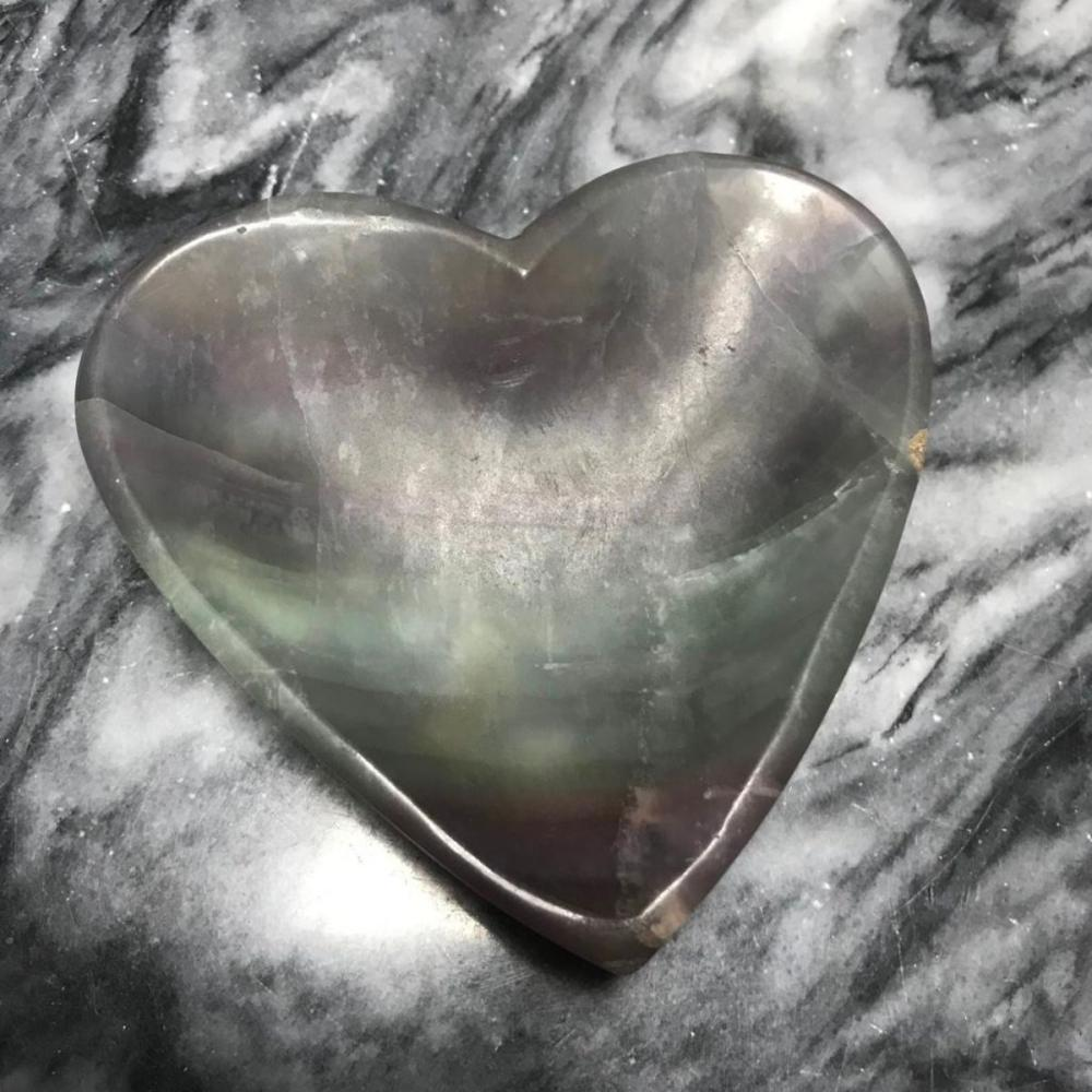 Hand-carved Flourite Quartz Crystal Heart Dish