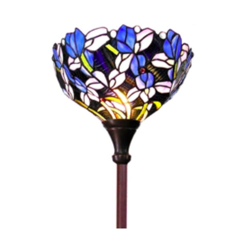 Tiffany-style Iris Torchiere Floor Lamp