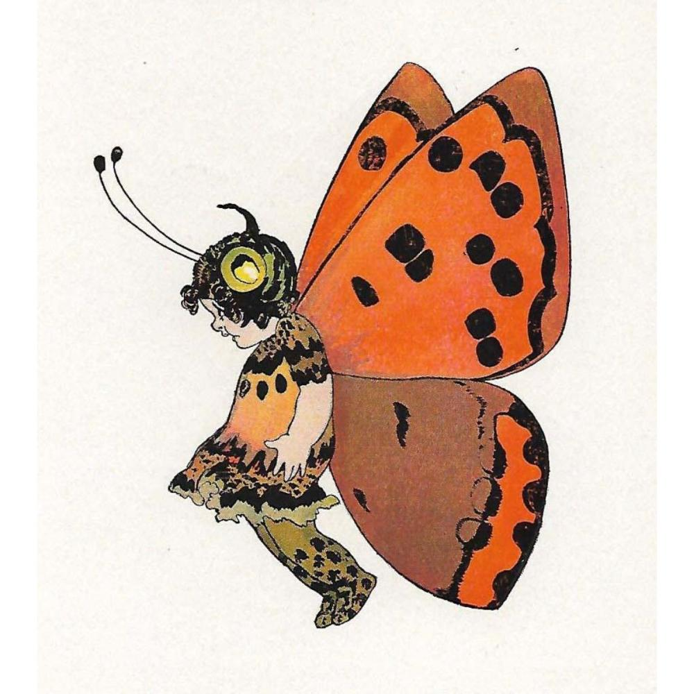 1914 Butterfly Babies Lithograph, American Copper