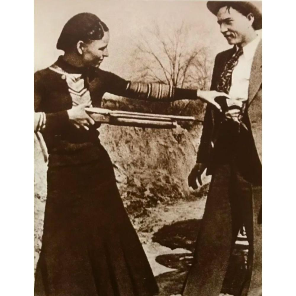 Gangsters Bonnie And Clyde Sepia Tone Photo Prints