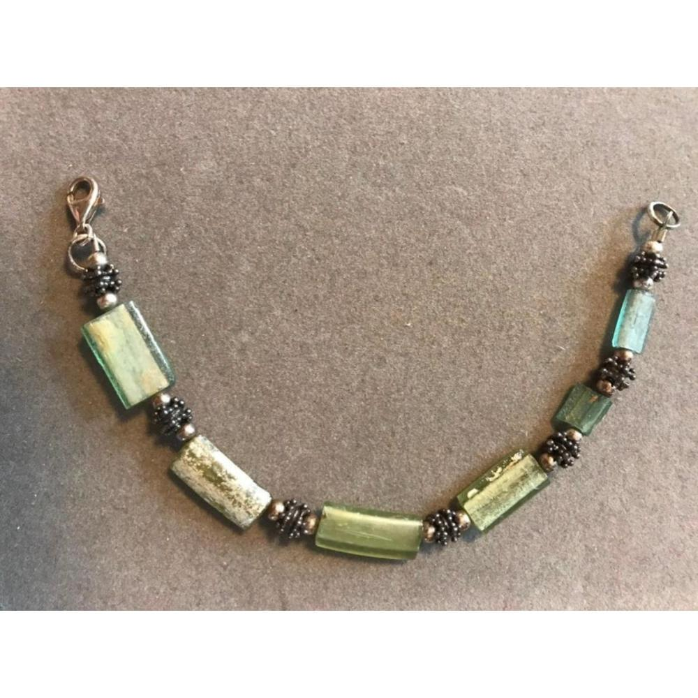 Ancient Roman Glass Shard Sterling Silver Bracelet