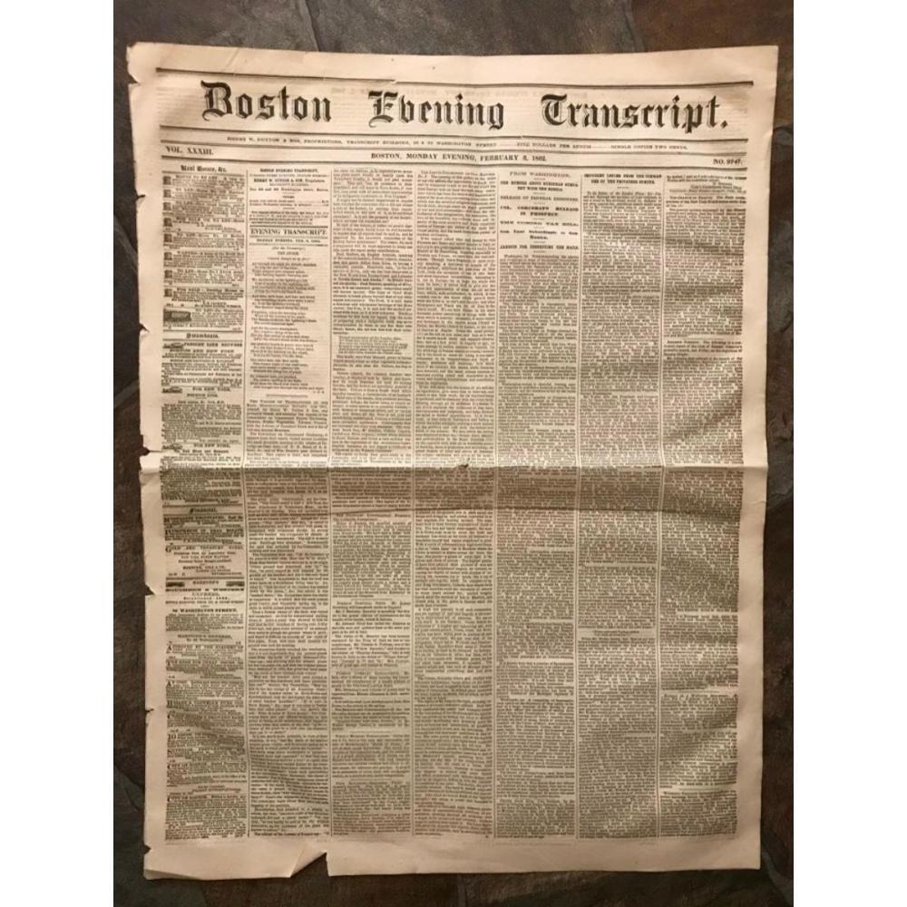 1862 Civil War Era Newspaper, Boston Evening Transcript