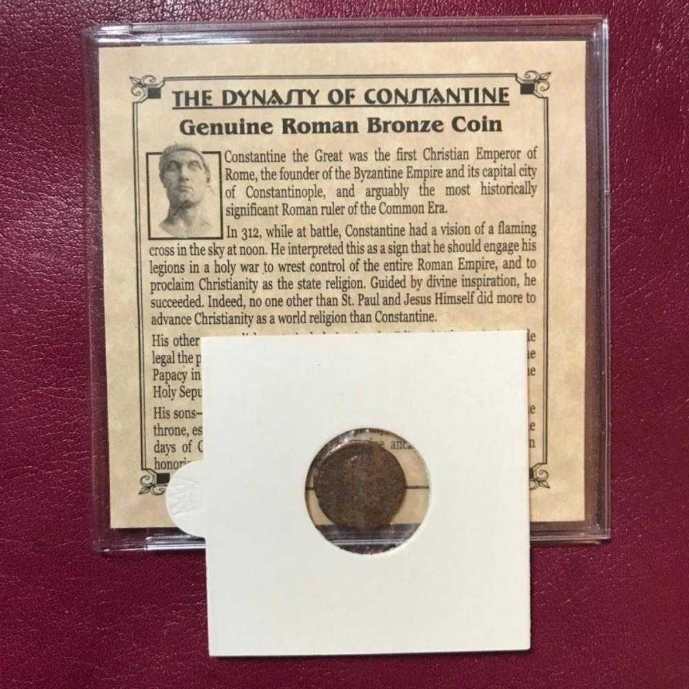 4th Century AD Roman Bronze Nummus Coin, Constantine