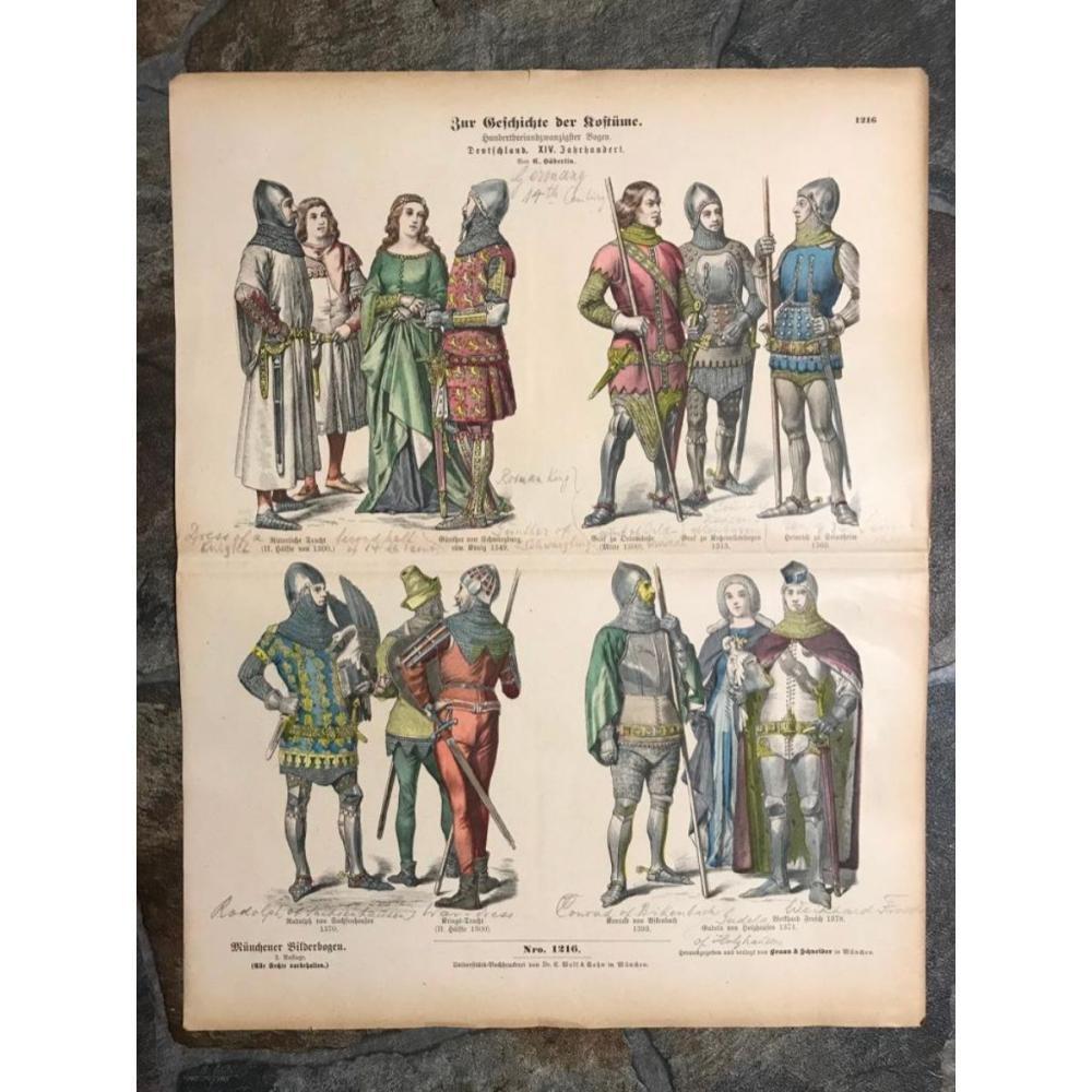 Rare 19thc German Costume Plates, 14thc Knights