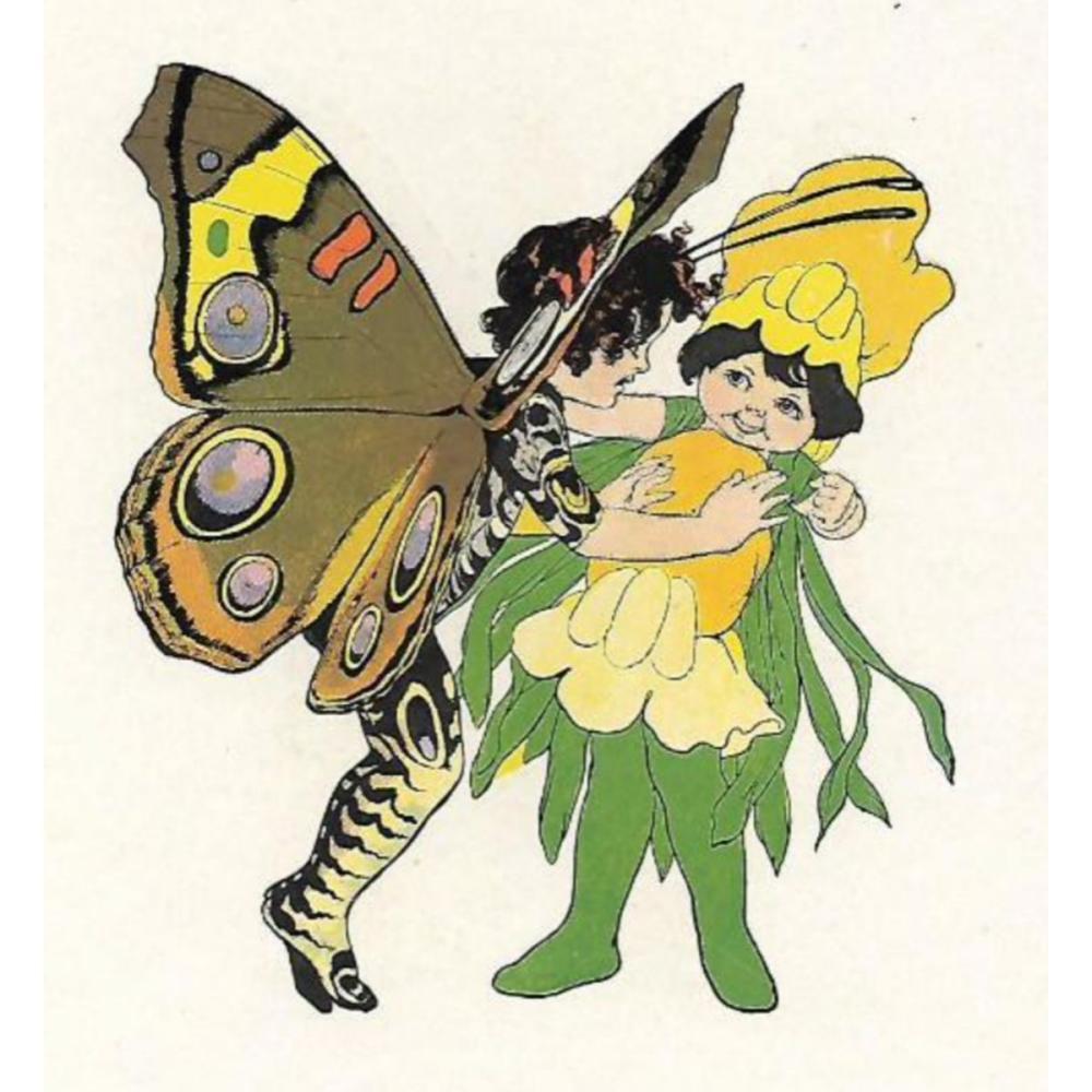 1914 Butterfly Babies Lithograph, Buckeye