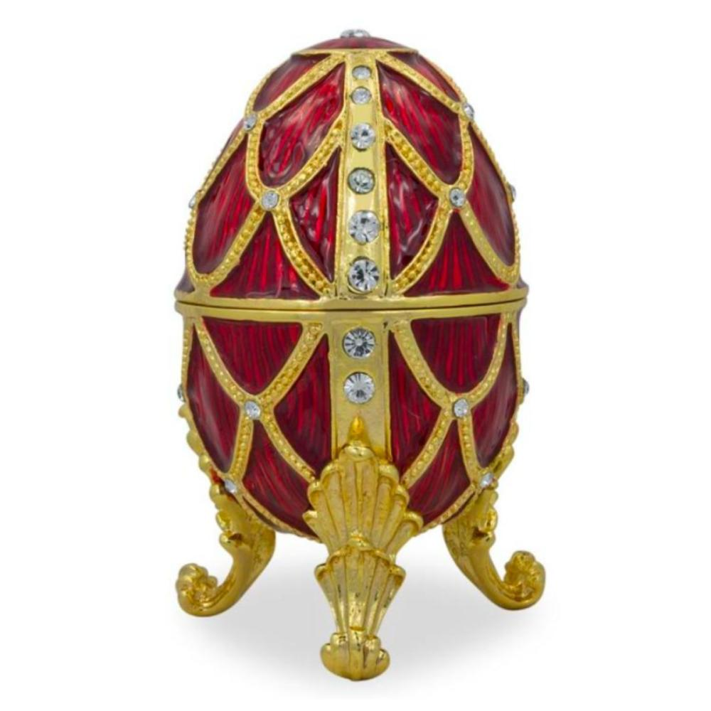 Royal Russian Crimson Trellis Trinket Box Egg