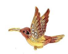 Hummingbird Brooch Pin Vintage Classic Crystals Rhinestone Decorative Charm Bird