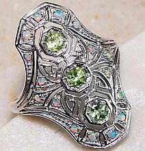 Natural Peridot, Opal & Sterling Silver ring