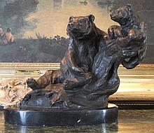 Magnificent Bronze Sculpture Grizzly Bear Mother