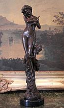 Angelic Bronze Sculpture Nude Woman & Cherub