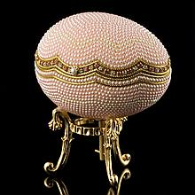 Faberge Inspired Pink Pearl Egg