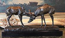 Bronze Sculpture Doe Pair