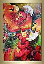 Expressionist Abstract Oil on Canvas Painting.