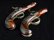 Two Deringer-Style Percussion Pocket Pistols