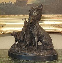 Dogs Bronze Sculpture