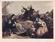 Departure of the Pilgrim Fathers Colored Print