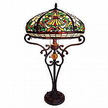Tiffany-style Table Lamp w/ Ornate Base