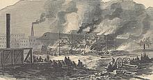 ORIGINAL Antique PRINT scene Burning of the Navy