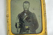 TIN TYPE. CIVIL WAR SOLDIER W/ SWORD