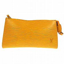 LOUIS VUITTON Epi Leather Yellow Clutch