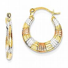 14K Tri Colored Gold Hollow Textured Hoop Earrings