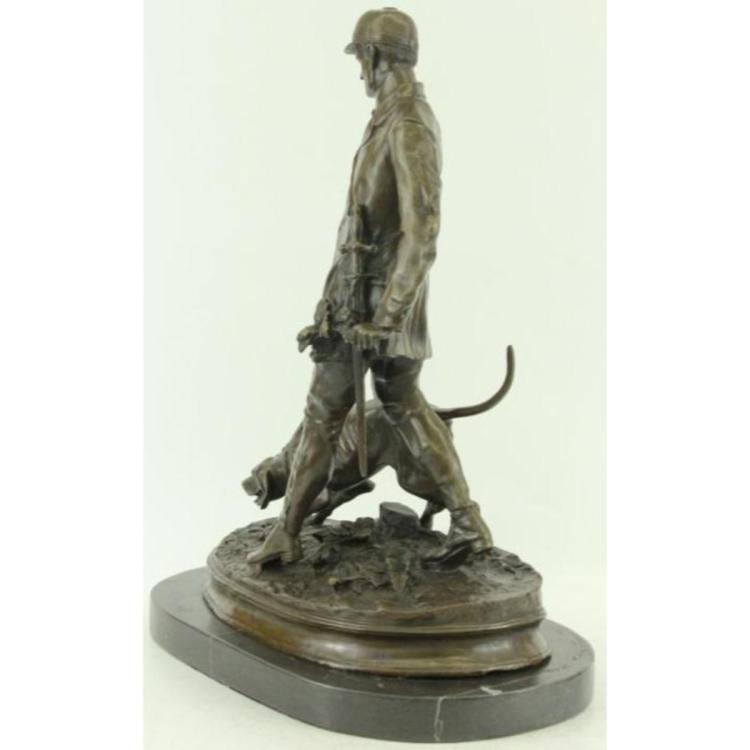Unique Bronze Marble Statue Fox Hunt Club Scent Hound Dog