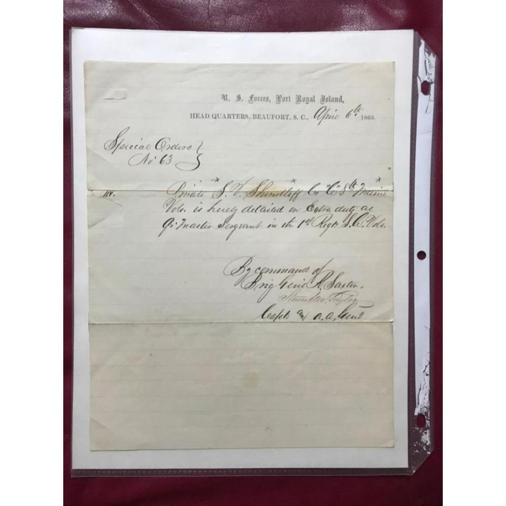 1863 Civil War Signed Special Orders, Brig Gen Rufus Saxton