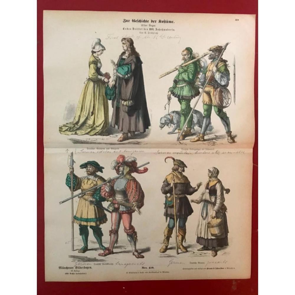 Rare 19thc German Costume Plates, 16thc Mountain Herders, Peasants