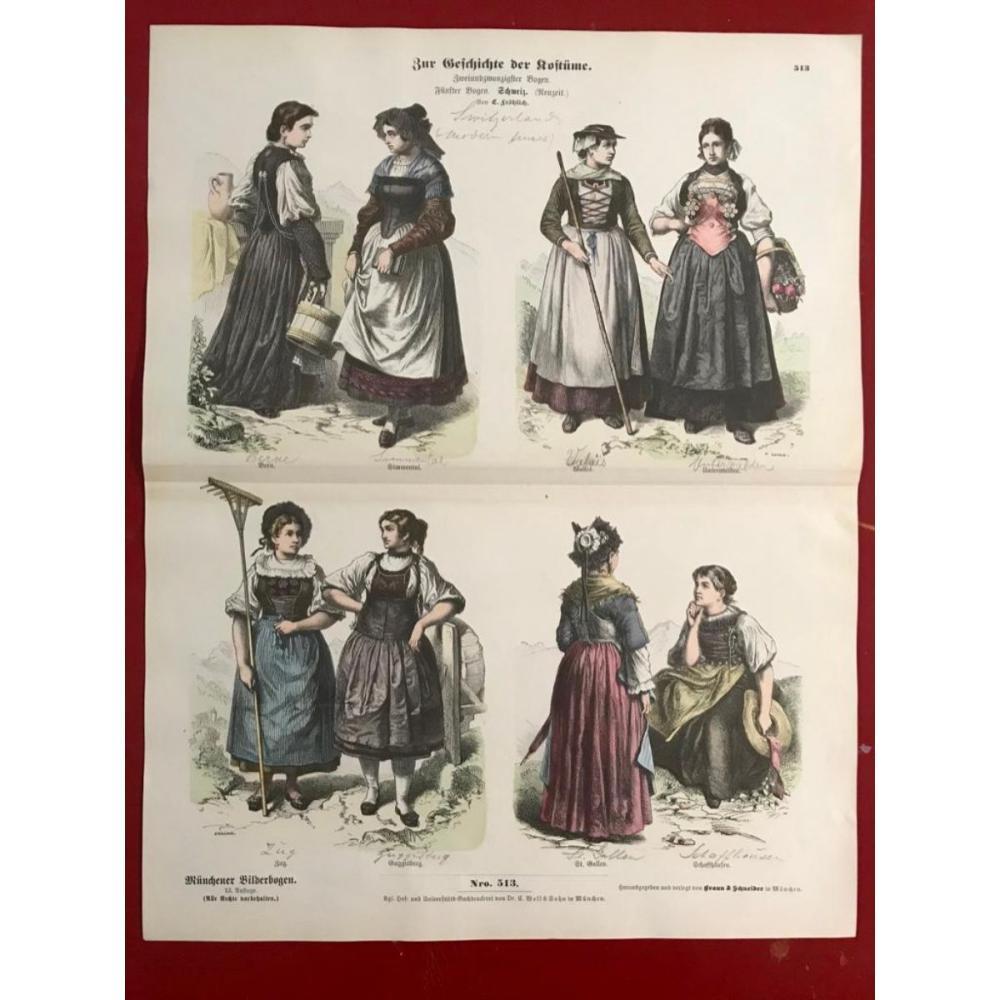Rare 19thc Handcolored Costume Plates, Switzerland