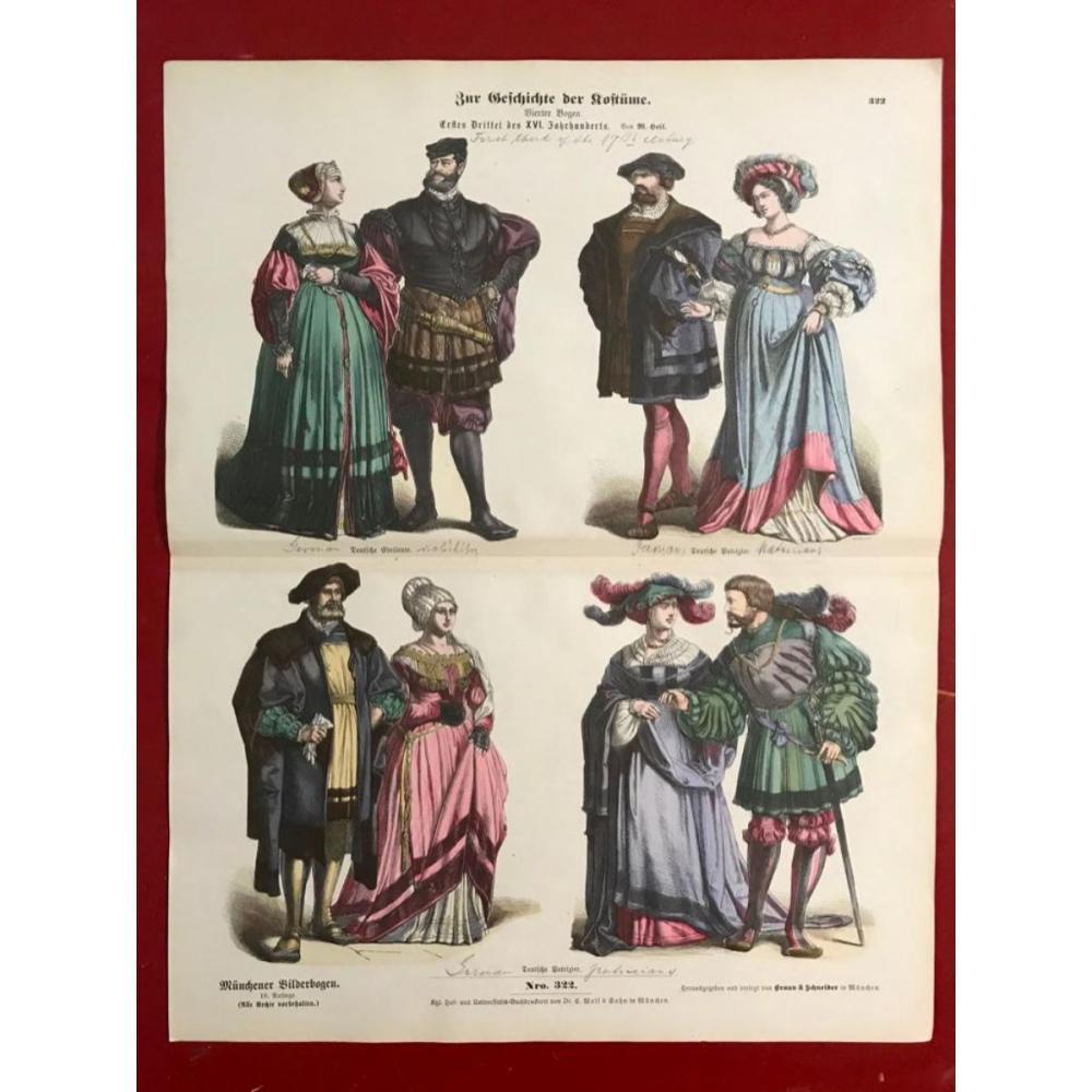 Rare 19thc German Handcolored Costume Plates