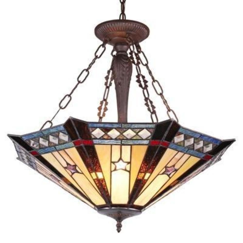 Tiffany-style Geoemetirc Inverted Ceiling Pendant Light