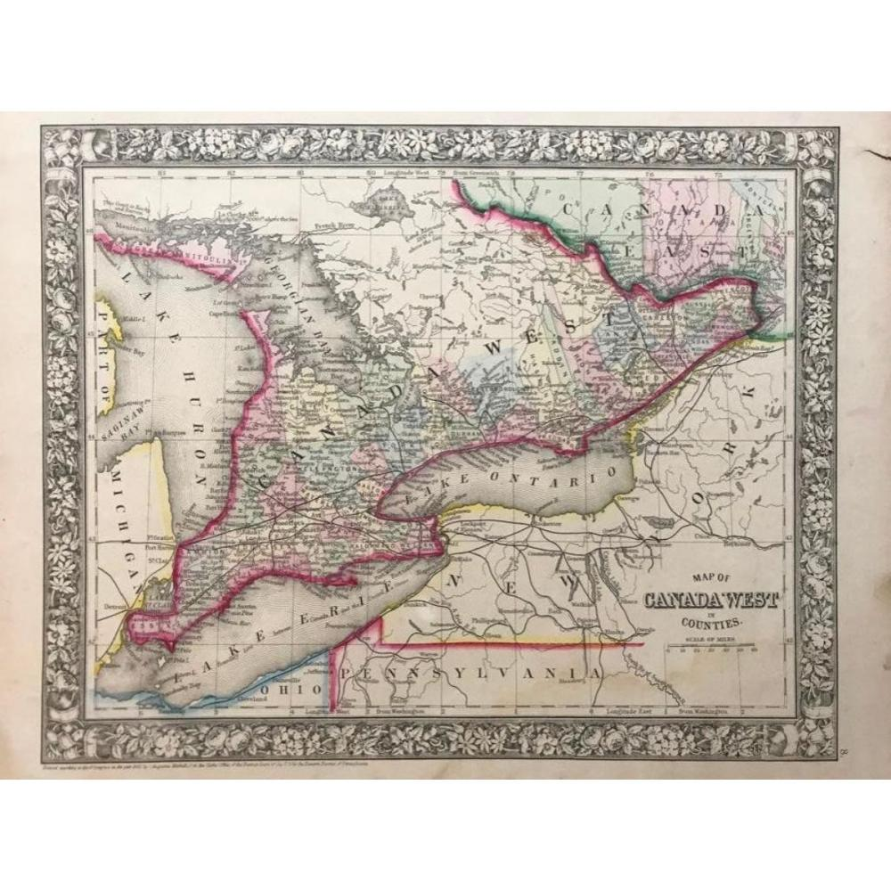 19thc Copper Engraving, Mitchell's Map, Canada West