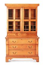 19thc American Cherry Writing Desk, Bookcase
